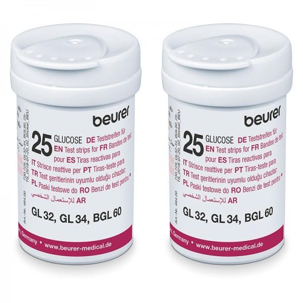 Beurer Blutzuckerteststreifen für GL 32/34 BGL60 Geräte 2 * 25 Stück
